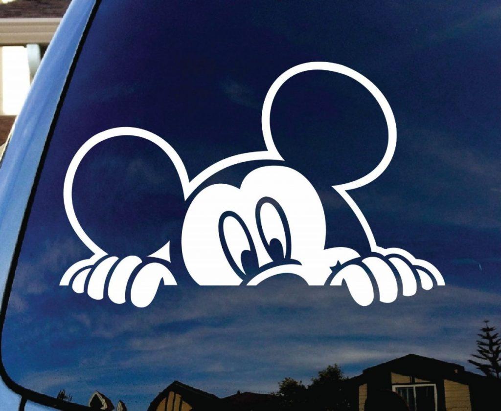 Mickey Mouse Peeking Car Window Vinyl Decal