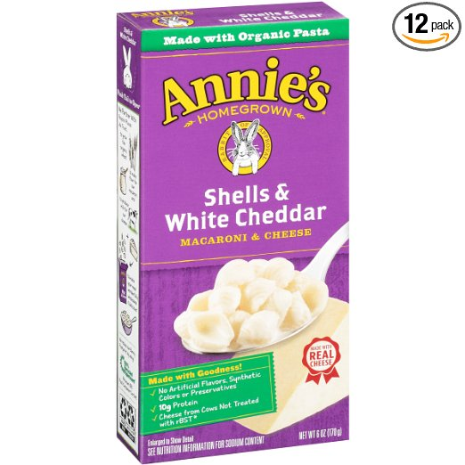 Annie's Shells & White Cheddar Macaroni & Cheese 6 oz. Box (Pack of 12)