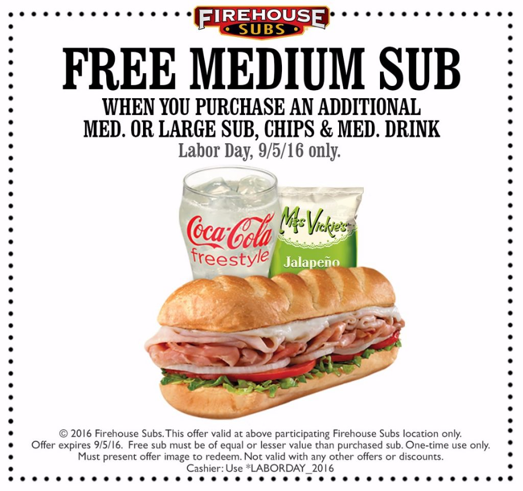 image regarding Firehouse Subs Coupon Printable titled Firehouse Subs Labor Working day Deliver 2016 - The Coupon Difficulty