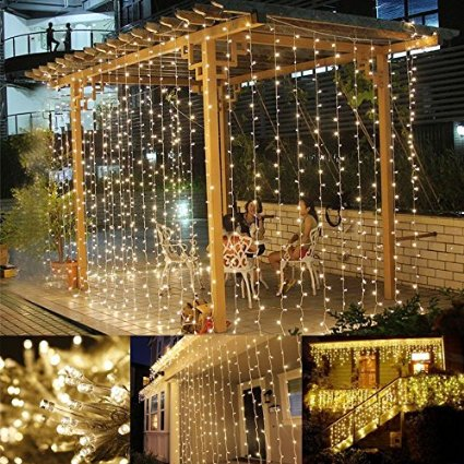 LE LED Window Curtain Icicle Lights, 304 LEDs, 9.8ft x 9.8ft ,8 Modes Linkable, String Fairy Light, Warm White, for Christmas/Wedding/Party Backdrops