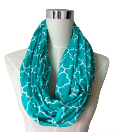 Womens Infinity Scarf w/ Zipper Pocket