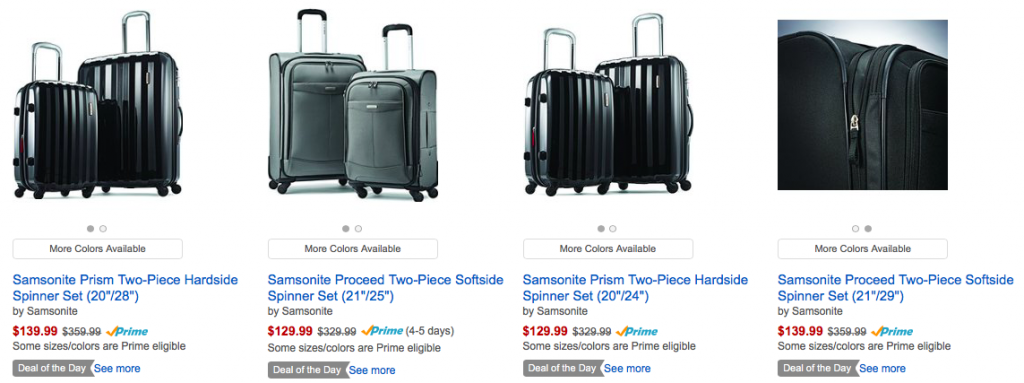 60% Off Samsonite Two-Piece Spinner Sets