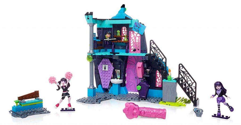 Mega Bloks Monster High School Fang Out School Play Set w/Draculaura and Elissabat Dolls