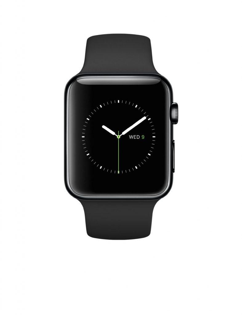 Apple Watch 38mm Stainless Steel Case w/ Black Sport Band