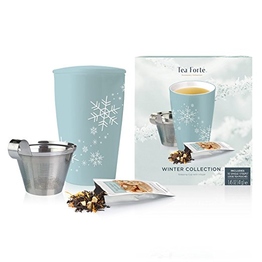 Tea Forté Loose Tea Starter Set, Gift Set with Snowflake Kati Cup Tea Brewing System and 10 Single Steeps