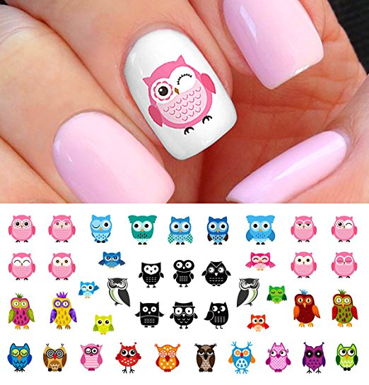 Owl Nail Art Decals Set 4 49 Shipped