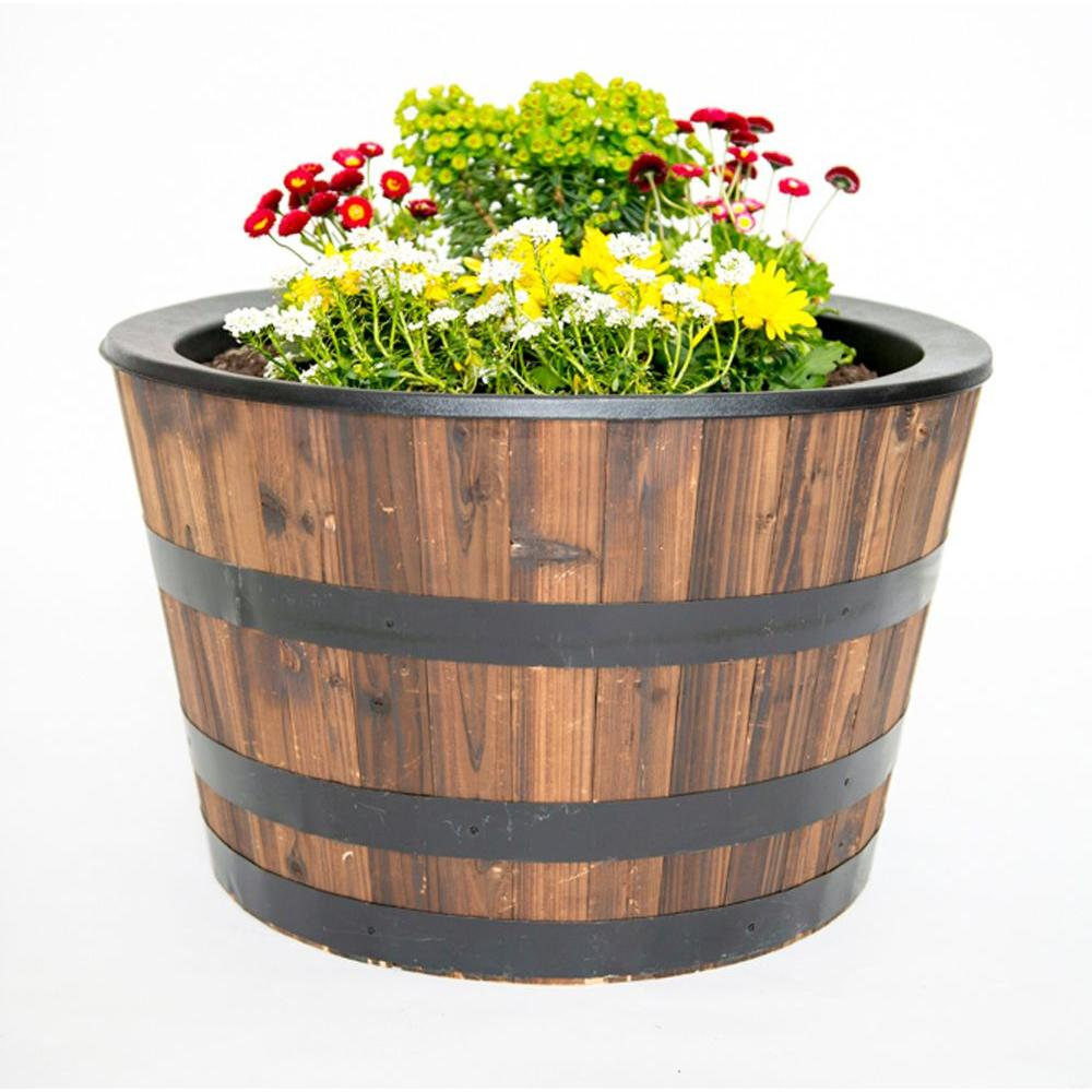 Real Wood 26 in. Dia Cedar Half Whiskey Barrel Planter $29.88 ...