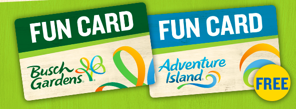 Pay For A Day And Play All Year At 2 Parks! Buy A Busch Gardens Fun Card,  Get An Adventure Island Fun Card FREE. Offer Ends July 1, 2018.
