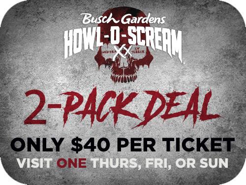 BGW 1Day HOS 2PACK Deal - Busch Gardens Howl O Scream Tickets 2015